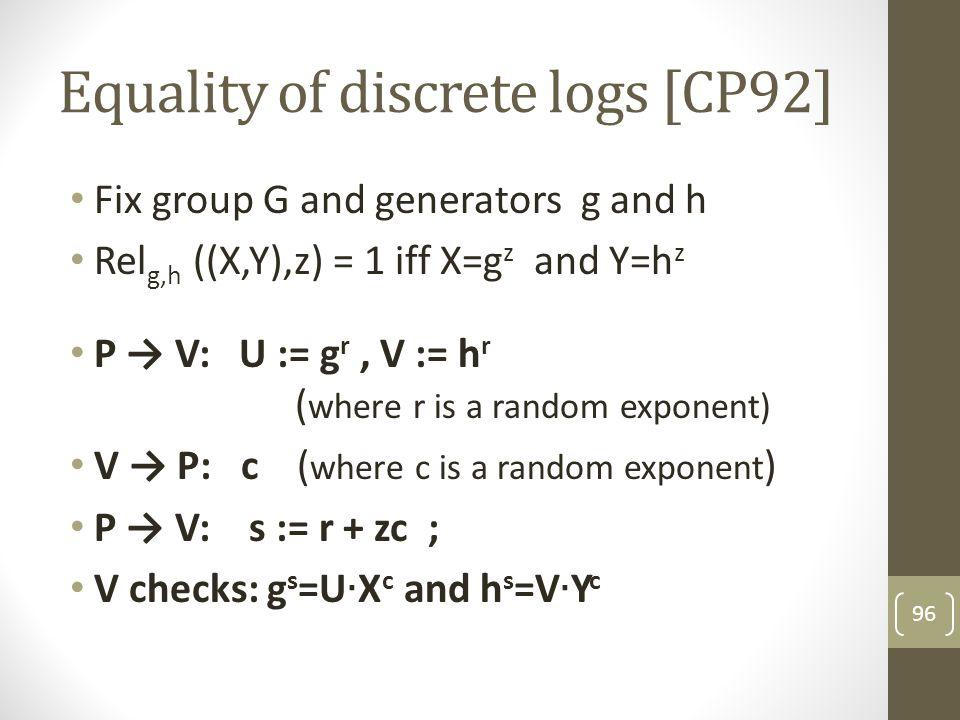 Equality of discrete logs [CP92]
